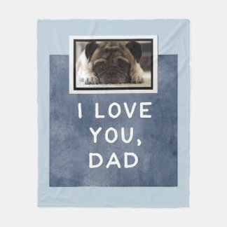 I Love You, Dad Dark Blue Custom Photo Blanket