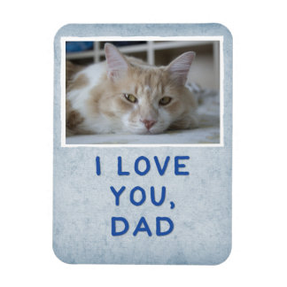 I Love You, Dad Light Blue Custom Cat Photo Magnet