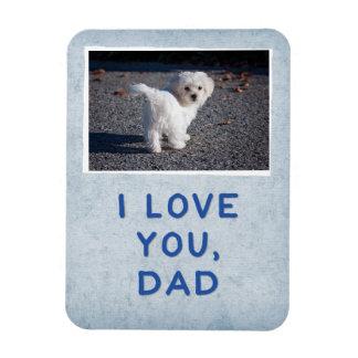 I Love You Dad, Light Blue Custom Dog Photo Magnet