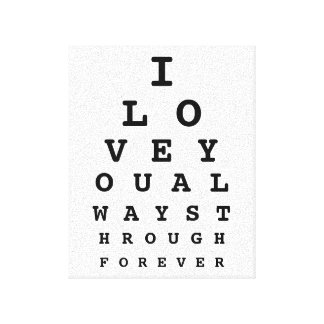 I Love You Eye Chart Canvas Stretched Canvas Print