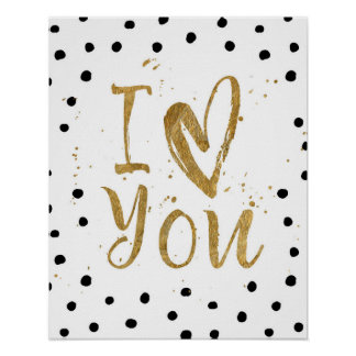 """I Love You"" Faux Gold Dot Decorative Heart Poster"