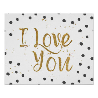 """I Love You"" Faux Gold Dot Decorative Poster"