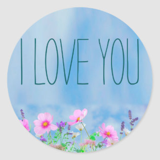 I love You Floral and Sky Classic Round Sticker