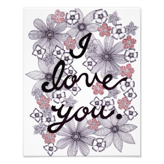 I Love You Floral Typography With Minimal Colors Photo Print