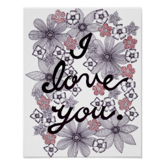 I Love You Floral Typography With Minimal Colors Poster