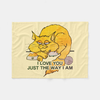 I Love You Funny Cat Graphic Quote Fleece Blanket