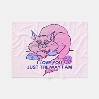 I Love You Funny Pink Cat Graphic Saying Fleece Blanket