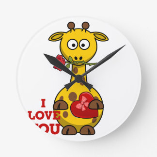 i love you giraffe round clock