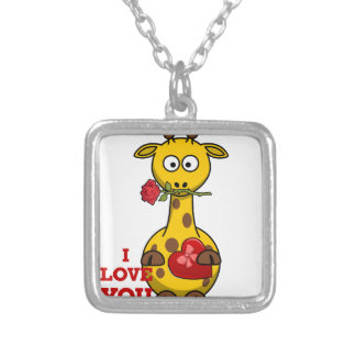 i love you giraffe silver plated necklace