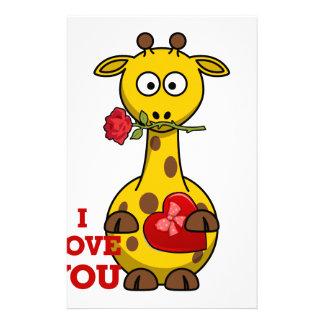 i love you giraffe stationery