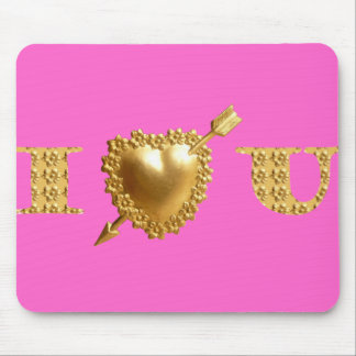 I LOVE YOU. Gold, jeweled I Heart You. Mouse Pad