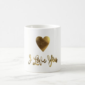 I Love You Golden Heart Typography Romantic Coffee Mug