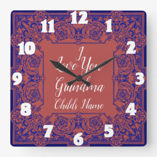 I LOVE YOU GRANDMA-CHANGEABLE COLOR BACKGROUND SQUARE WALL CLOCK