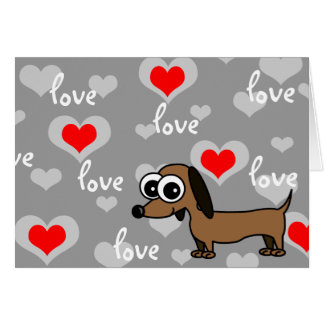 I Love You Greeting Card with Cartoon Dachshund
