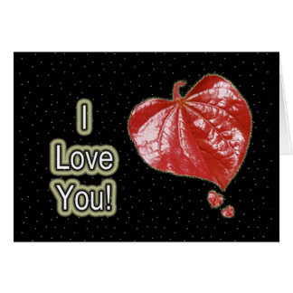 I Love You Greeting - Young Redbud Leaf in Spring Card