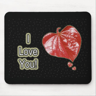 I Love You Greeting - Young Redbud Leaf in Spring Mouse Pad