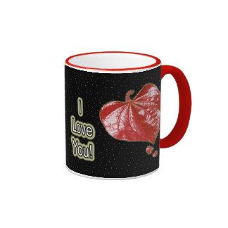 I Love You Greeting - Young Redbud Leaf in Spring Ringer Mug