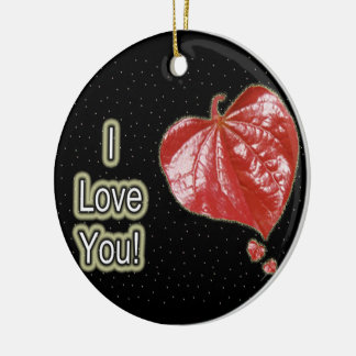 I Love You Greeting - Young Redbud Leaf in Spring Round Ceramic Decoration