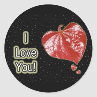 I Love You Greeting - Young Redbud Leaf in Spring Round Sticker