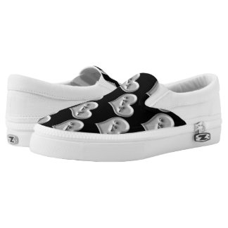 I love you grey heart metallic effect pattern Slip-On shoes