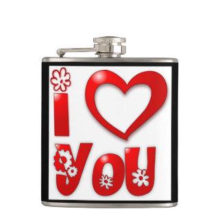 """I LOVE YOU"" GROOVY FLOWERS HIP FLASK"