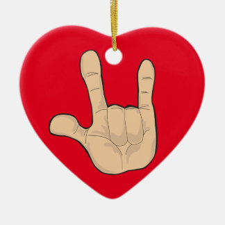 I LOVE YOU HAND GESTURE CERAMIC HEART DECORATION