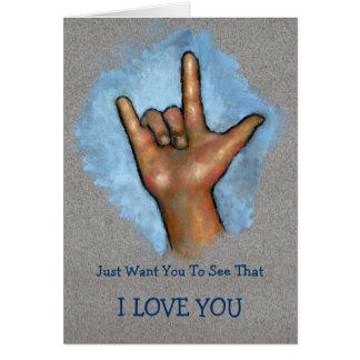 I LOVE YOU: Hand Making ASL Sign: Sign Language Card