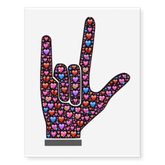 I Love You hand sign filled with emoji hearts