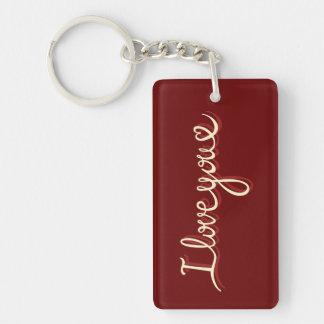 I Love You Handwritten Style Rectangular Key Chain