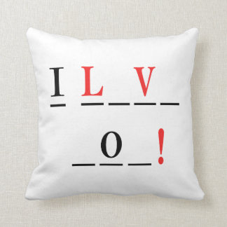 I Love You-Hangman Style by Shirley Taylor Throw Pillow