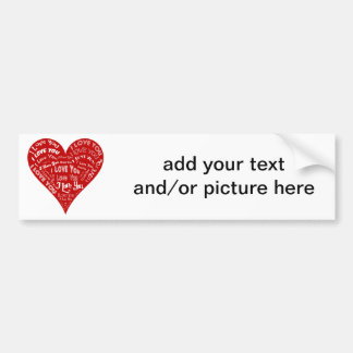 I Love You Heart Design for Weddings & Holidays Bumper Stickers