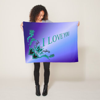 I love You , Heart with Flower and Butterfly Fleece Blanket