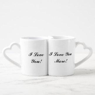 """I Love You/I Love You More"" Nesting Mugs Lovers Mug Set"