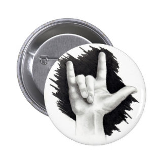 I LOVE YOU IN ASL #2 6 CM ROUND BADGE