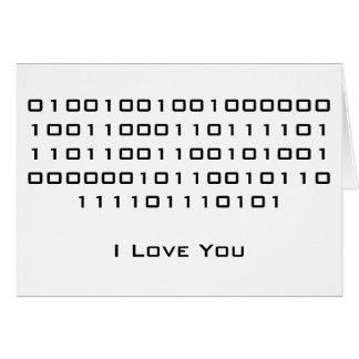 """I Love You"" in Binary Code Card"