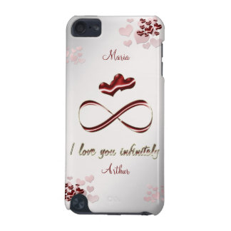 I love you infinitely stylish red hearts on gray iPod touch (5th generation) covers