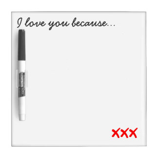 I Love You Message Board Dry Erase White Board