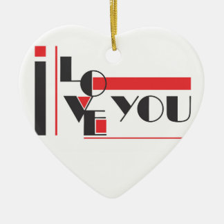 I love you modern typography ceramic heart decoration