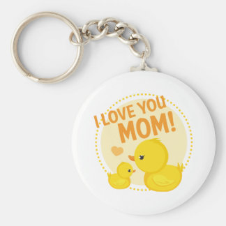 I Love You Mom Basic Round Button Key Ring