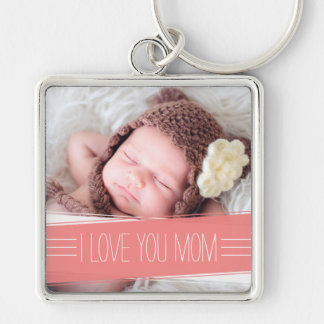 I Love You Mom | Coral Banner Photo Silver-Colored Square Key Ring