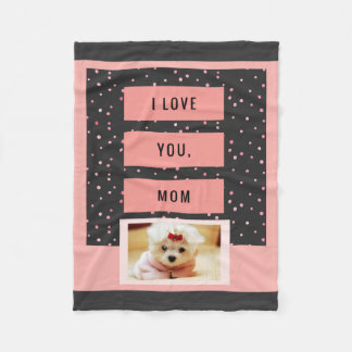 I Love You Mom Custom Pet Photo Blanket