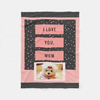 I Love You Mom Custom Pet Photo Blanket