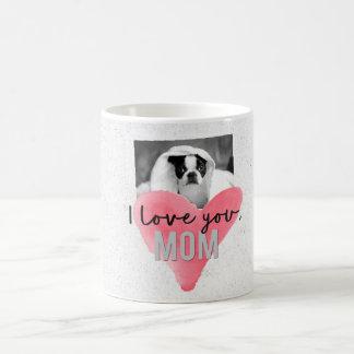 I Love You Mom Custom Photo Heart Mug