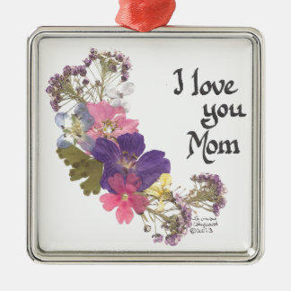 I love you Mom gifts Silver-Colored Square Decoration