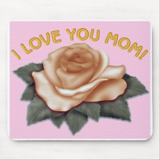 I Love you Mom Mouse Pad Flower Pink Background