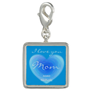 I Love You Mom Personalized Deep Blue Water Heart