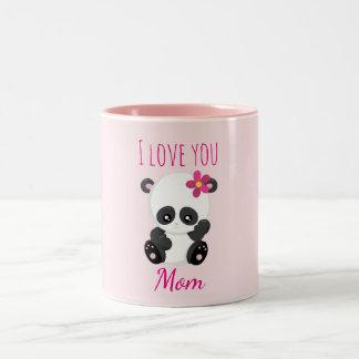 I love you Mom Pretty Panda Pink Two-Tone Coffee Mug