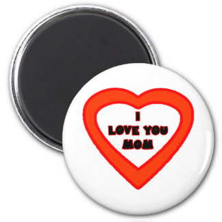I Love You MOM Red Orange Heart The MUSEUM Zazzle Refrigerator Magnet