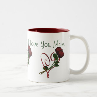 I Love You Mom Red Roses Heart Coffee Mug