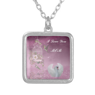 """I Love You, Mom"" Square Pendant Necklace"